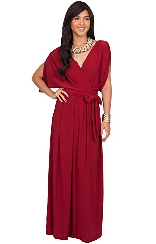KOH KOH Womens Long Formal Short Sleeve Cocktail Flowy V-Neck Gown Maxi Dress – Small, Crimson