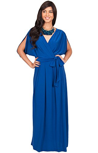 KOH KOH Womens Long Formal Short Sleeve Cocktail Flowy V-Neck Gown Maxi Dress – Medium, Sapphire