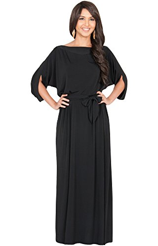 KOH-KOH-Womens-Batwing-Half-Sleeve-Boat-Neck-Cocktail-Gown-Maxi-Dress-0