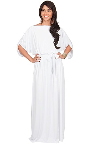 KOH KOH Womens Long Flowy Formal Batwing Sleeve Evening Casual Gown Maxi Dress – Large, Pure White