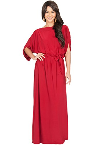 KOH KOH Womens Long Flowy Formal Batwing Sleeve Evening Casual Gown Maxi Dress – Large, Crimson