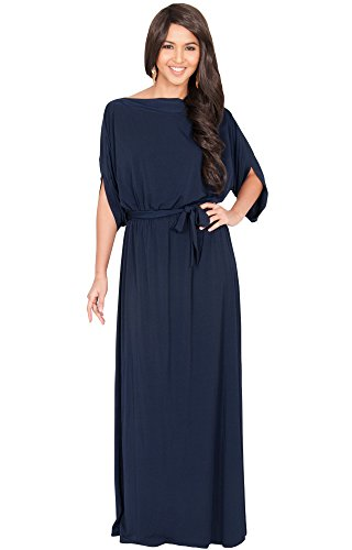KOH KOH Womens Long Flowy Formal Batwing Sleeve Evening Casual Gown Maxi Dress – Small, Navy blue