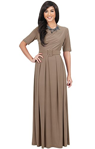 KOH-KOH-Womens-Half-Sleeve-Elegant-Evening-Long-Maxi-Dress-with-Belt-0