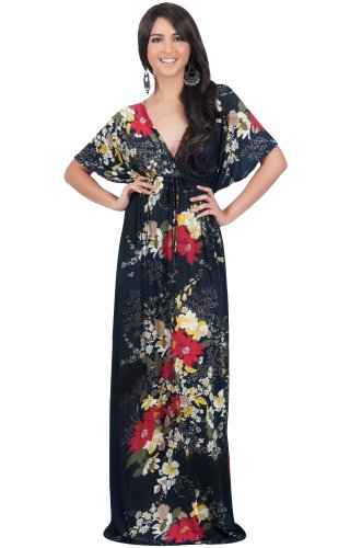 KOH-KOH-Womens-Kimono-Sleeve-V-Neck-Versatile-Long-Floral-Print-Maxi-Dress-0