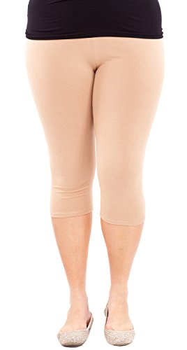 Clothes Effect Woman Plus Size Elastic Waist Cotton Capri Leggings,USA Made, Multiple Colors Available – X-Large, Khaki
