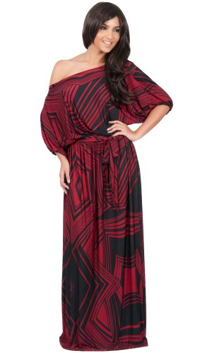 KOH KOH Womens Long One Shoulder 3/4 Short Sleeve Summer Print Gown Maxi Dress – Medium, Crimson / Black