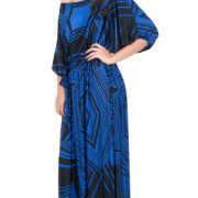KOH KOH Womens Long One Shoulder 3/4 Short Sleeve Summer Print Gown Maxi Dress – X-Large, Saphire & Midnight Black