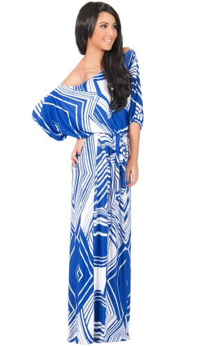 KOH KOH Womens Long One Shoulder 3/4 Short Sleeve Summer Print Gown Maxi Dress – XX-Large, Saphire & White