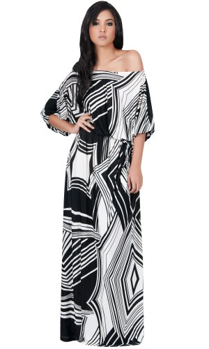 KOH KOH Womens Long One Shoulder 3/4 Short Sleeve Summer Print Gown Maxi Dress – 3X, Black White
