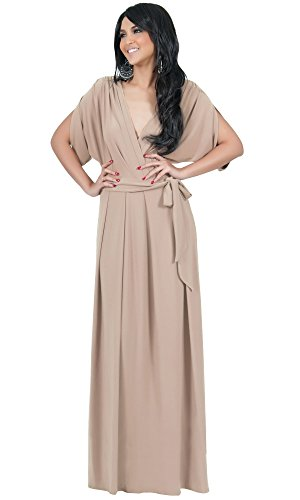KOH KOH Womens Long Formal Short Sleeve Cocktail Flowy V-Neck Gown Maxi Dress – Large, Light Brown