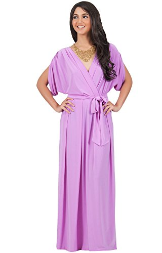 KOH KOH Womens Long Formal Short Sleeve Cocktail Flowy V-Neck Gown Maxi Dress – Small, Purple