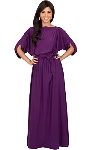 KOH KOH Womens Long Flowy Formal Batwing Sleeve Evening Casual Gown Maxi Dress – Medium, Purple