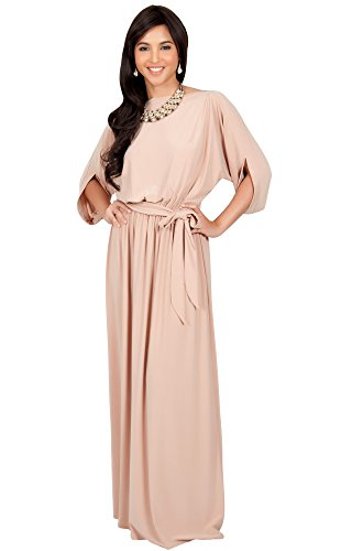 KOH KOH Womens Long Flowy Formal Batwing Sleeve Evening Casual Gown Maxi Dress – Small, Beige