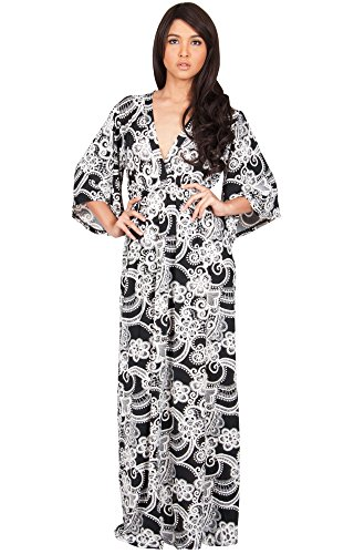 KOH KOH Womens Long Kimono Sleeves V-Neck Floral Print Flowy Summer Maxi Dress – X-Small, Black and Ivory