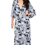 KOH KOH Womens Long Kimono Sleeves V-Neck Floral Print Flowy Summer Maxi Dress – X-Small, Navy Blue and Ivory