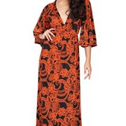 KOH KOH Womens Long Kimono Sleeves V-Neck Floral Print Flowy Summer Maxi Dress – X-Small, Orange and Black
