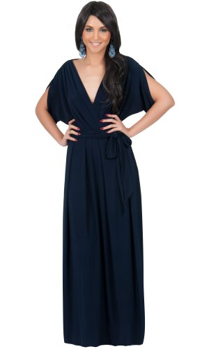 KOH KOH Womens Long Formal Short Sleeve Cocktail Flowy V-Neck Gown Maxi Dress – Small, Navy blue