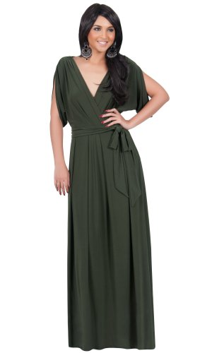 KOH KOH Womens Long Formal Short Sleeve Cocktail Flowy V-Neck Gown Maxi Dress – Small, Olive Green