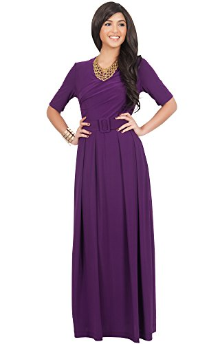KOH KOH Womens Long Half Sleeve Elegant Evening Long with Belt Maxi Dress – Large, Magenta Purple
