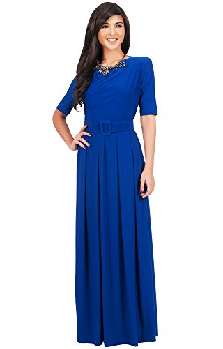 KOH KOH Womens Long Half Sleeve Elegant Evening Long with Belt Maxi Dress – Medium, Cobalt Blue