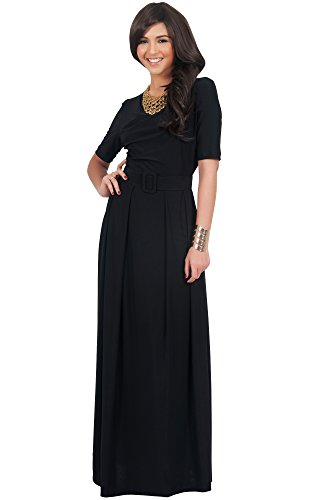 KOH KOH Womens Long Half Sleeve Elegant Evening Long with Belt Maxi Dress – Small, Black