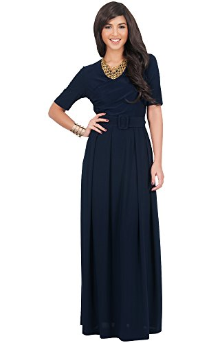 KOH KOH Womens Long Half Sleeve Elegant Evening Long with Belt Maxi Dress – Small, Navy blue