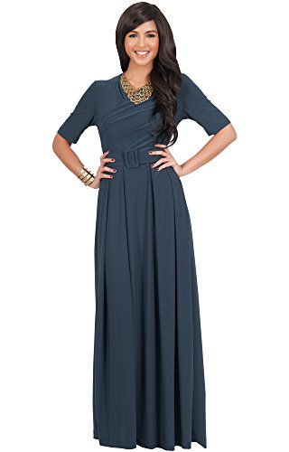 KOH KOH Womens Long Half Sleeve Elegant Evening Long with Belt Maxi Dress – Small, Slate Gray