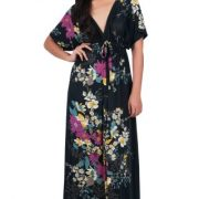 KOH KOH Womens Long Summer Floral Evening Sexy Kaftan Evening Gown Maxi Dress – XX-Large, Black