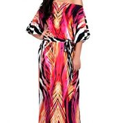 KOH KOH Womens Long One Shoulder Sexy Summer Printed Flowy Gown Boho Maxi Dress – 3X, Pink