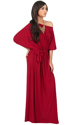 KOH KOH Womens Long Sexy One Shoulder Flowy Casual 3/4 Short Sleeve Maxi Dress – Small, Crimson