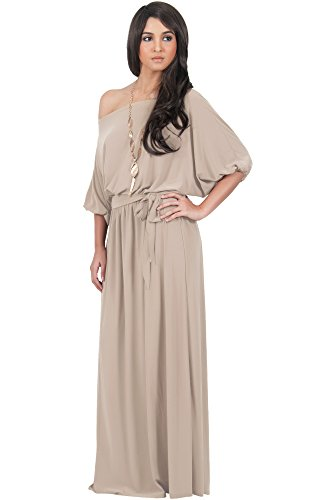 KOH KOH Womens Long Sexy One Shoulder Flowy Casual 3/4 Short Sleeve Maxi Dress – Small, Light Brown