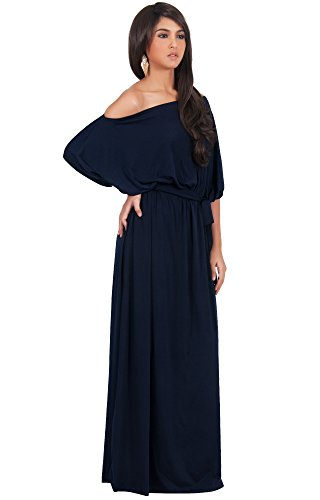KOH KOH Womens Long Sexy One Shoulder Flowy Casual 3/4 Short Sleeve Maxi Dress – Small, Navy blue