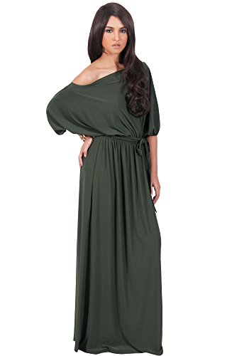 KOH KOH Womens Long Sexy One Shoulder Flowy Casual 3/4 Short Sleeve Maxi Dress – Small, Olive Green