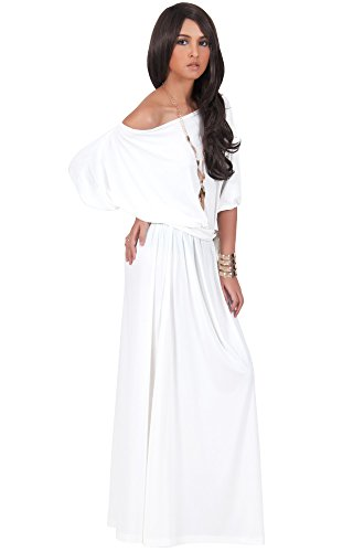KOH KOH Womens Long Sexy One Shoulder Flowy Casual 3/4 Short Sleeve Maxi Dress – Small, Pure White
