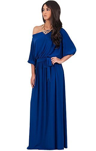 KOH KOH Womens Long Sexy One Shoulder Flowy Casual 3/4 Short Sleeve Maxi Dress – Small, Sapphire