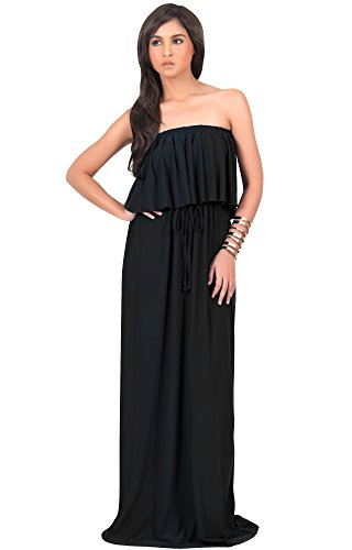 KOH KOH Womens Long Evening Summer Sexy Flowy Beach Strapless Maxi Dress – Small, Black