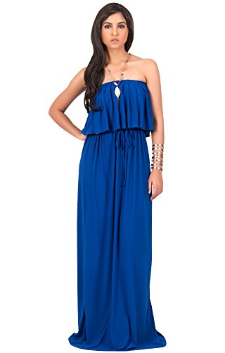 KOH KOH Womens Long Evening Summer Sexy Flowy Beach Strapless Maxi Dress – Small, Cobalt Blue