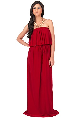 KOH KOH Womens Long Evening Summer Sexy Flowy Beach Strapless Maxi Dress – Small, Crimson