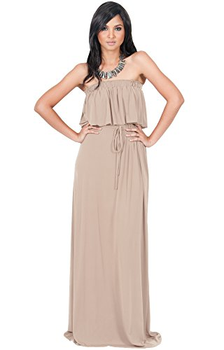 KOH KOH Womens Long Evening Summer Sexy Flowy Beach Strapless Maxi Dress – Small, Light Brown
