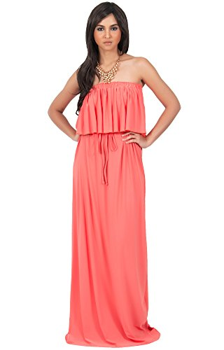 KOH KOH Womens Long Evening Summer Sexy Flowy Beach Strapless Maxi Dress – Small, Peach