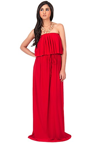 KOH KOH Womens Long Evening Summer Sexy Flowy Beach Strapless Maxi Dress – Small, Red