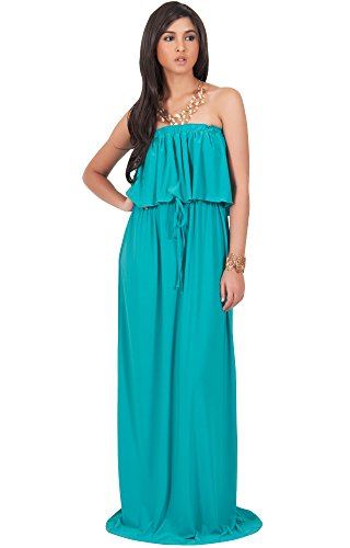 KOH KOH Womens Long Evening Summer Sexy Flowy Beach Strapless Maxi Dress – Small, Turquoise