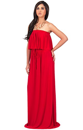KOH KOH Womens Long Evening Summer Sexy Flowy Beach Strapless Maxi Dress – XX-Large, Red