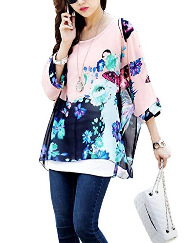 LY Womens Loose Casual Batwing Sleeve Chiffon Shirt BOHO Style Tops Blouse – Multi2