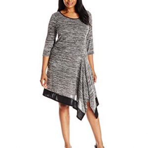 MSK-Womens-Plus-Size-Elbow-Sleeve-Asymmetric-Hem-Sweater-Dress-with-Color-Block-0