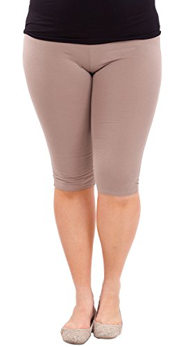 Clothes Effect Woman Plus Size Elastic Waist Cotton Capri Leggings,USA Made, Multiple Colors Available – X-Large, Mocha