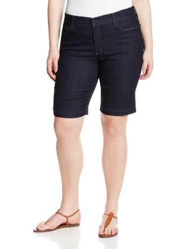 NYDJ Women's Plus-Size Debby Denim Bermuda Short – 14 Plus, Dark Enzyme