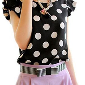 OURS-Womens-Casual-Blouse-Polka-Dot-Short-Sleeve-Shirt-T-shirt-Tops-0