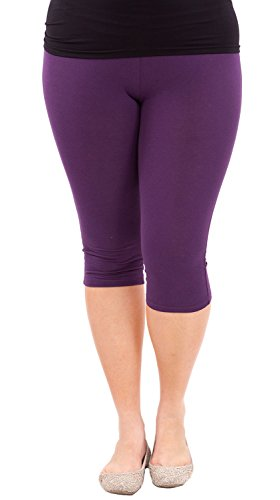 Clothes Effect Woman Plus Size Elastic Waist Cotton Capri Leggings,USA Made, Multiple Colors Available – 2X Plus, Purple