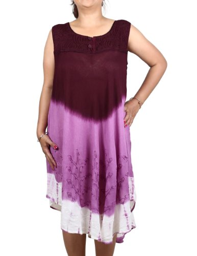 Rayon-Dress-Summer-Indian-Frock-Tie-Dye-Embroidered-Size-M-0